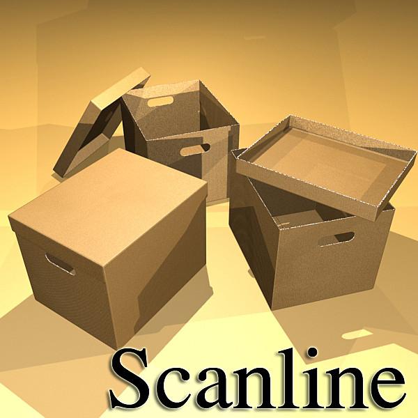 photorealistic cardboard banker box high 3d model 3ds max fbx psd obj 130231