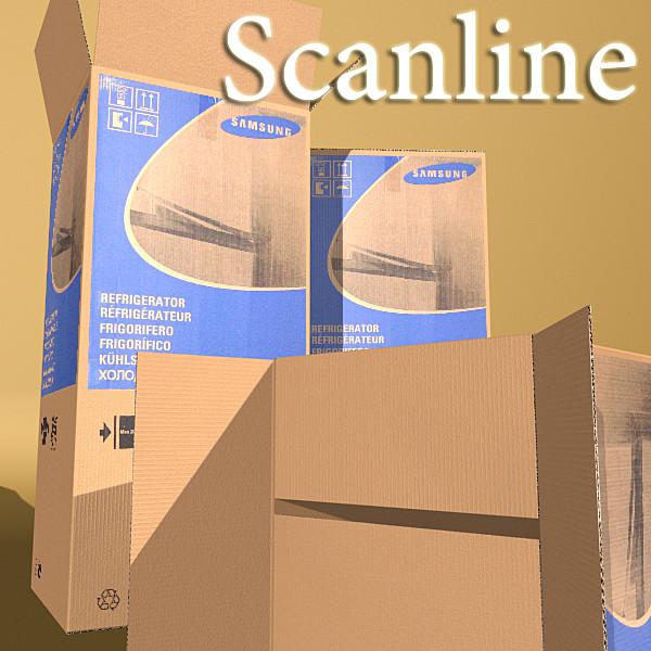 photorealistic cardboard box high res 3d model 3ds max fbx obj 130191