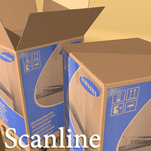photorealistic cardboard box high res 3d model 3ds max fbx obj 130192
