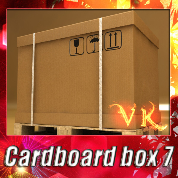 photorealistic cardboard box & pallet 3d model 3ds max fbx psd obj 130244