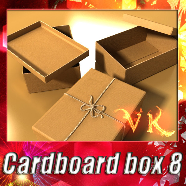 photorealistic cardboard box & rope 3d model 3ds max fbx psd obj 130245