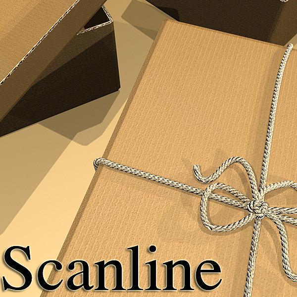 photorealistic cardboard box & rope 3d model 3ds max fbx psd obj 130253