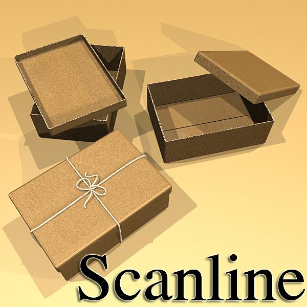 photorealistic cardboard box & rope 3d model 3ds max fbx psd obj 130255