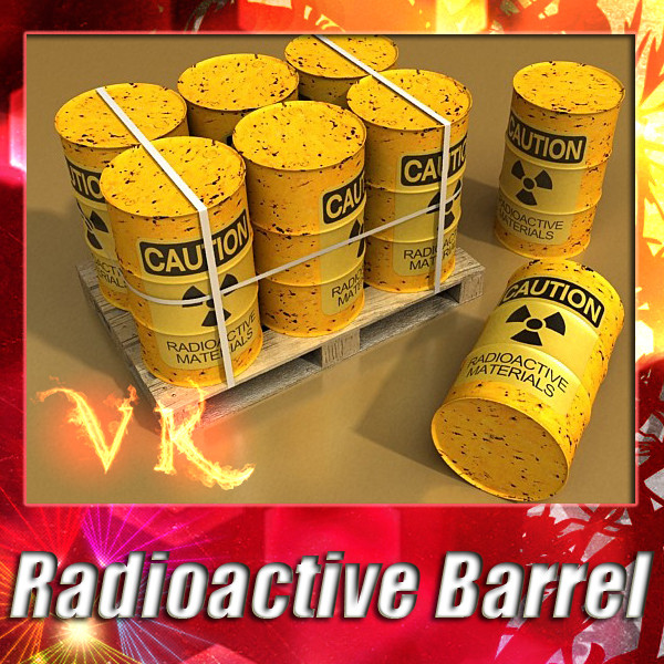 radioactive metal drums & pallet 3d model 3ds max fbx obj 130510