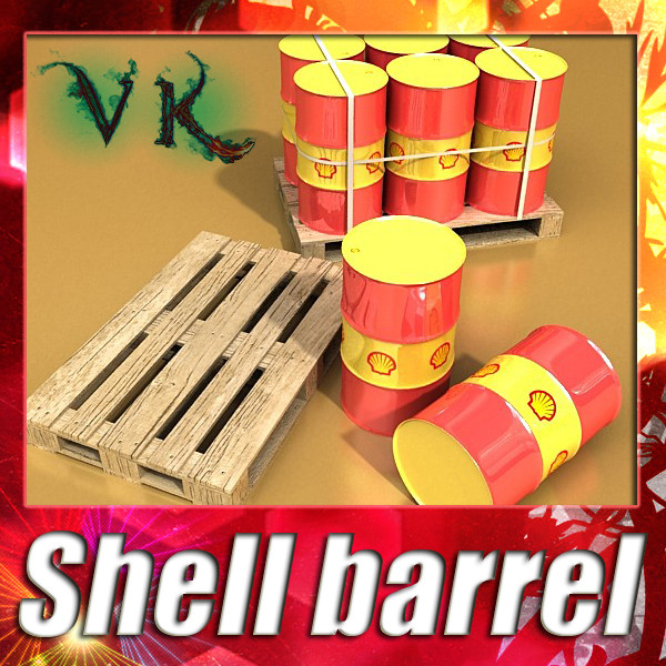 shell oil metal drums & pallet 3d model 3ds max fbx obj 130496