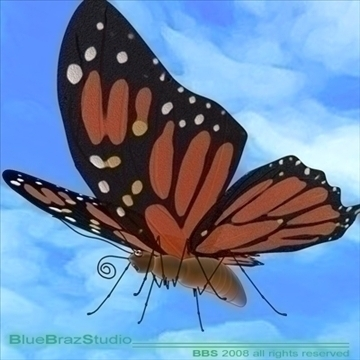 butterfly cartoon 3d model 3ds dxf c4d obj 93301