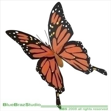 butterfly cartoon 3d model 3ds dxf c4d obj 93302