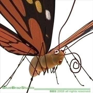 butterfly cartoon 3d model 3ds dxf c4d obj 93304