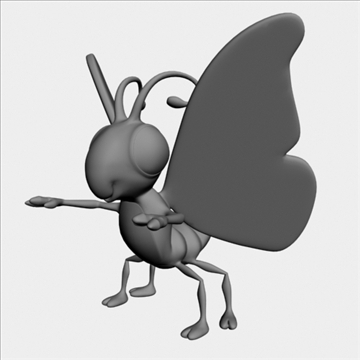 cartoon butterfly rigged 3d model 3ds max fbx lwo obj 107923