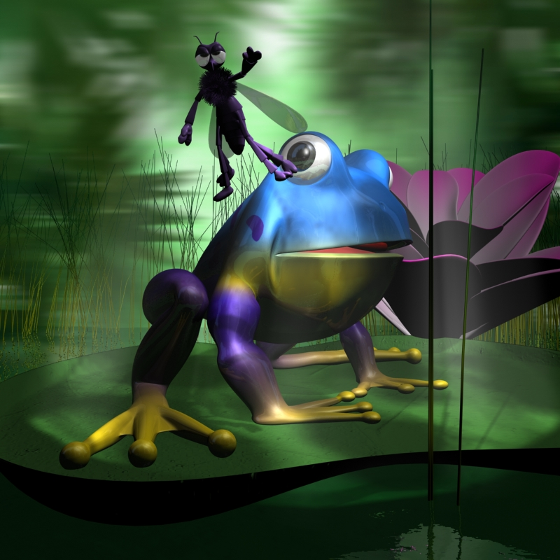 frogs and mosquito rigged in a cartoon scene 3d model 3ds max fbx lwo obj 137425