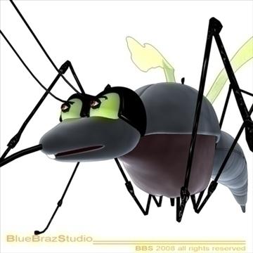 mosquito cartoon 3d model 3ds dxf c4d obj 109943