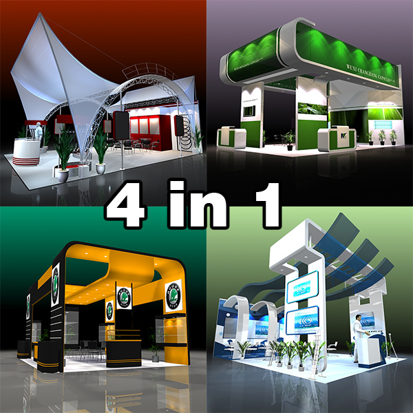 4 exhibit booth design para trade show 3d model 3ds max dxf dwg fbx c4d ma mb hrc xsi texture obj 150954