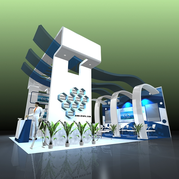 4 exhibit booth design for trade show 3d model 3ds max dxf dwg fbx c4d ma mb hrc xsi texture obj 150970