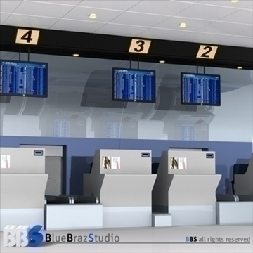airport check in 3d model 3ds dxf c4d obj 105570