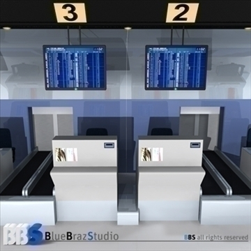 airport check in 3d model 3ds dxf c4d obj 105571