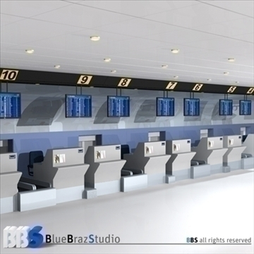 airport check in 3d model 3ds dxf c4d obj 105575