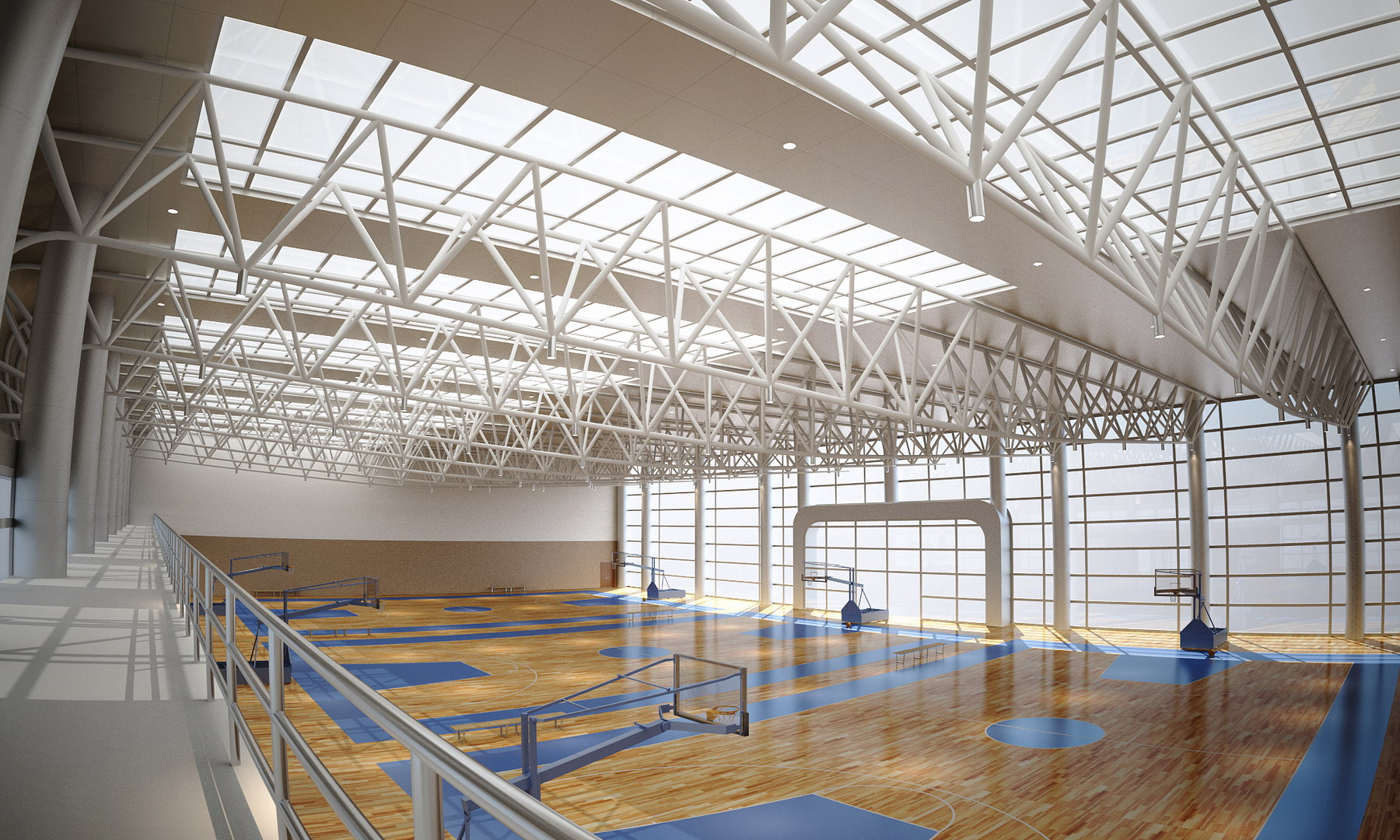 Basketball gymnasium arena 3d model buy basketball for Basketball gym designs and layout