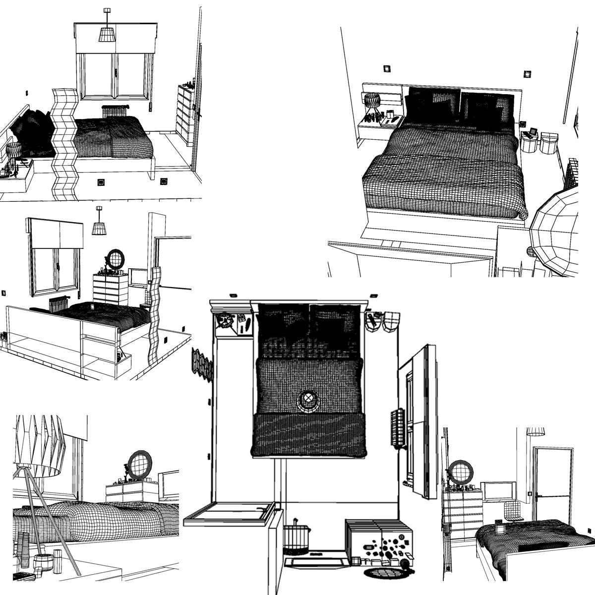 bedroom 8 3d model 3ds max fbx c4d ma mb obj 159566