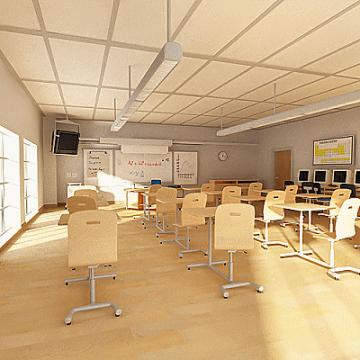 classroom 3d model 3ds max obj 77154