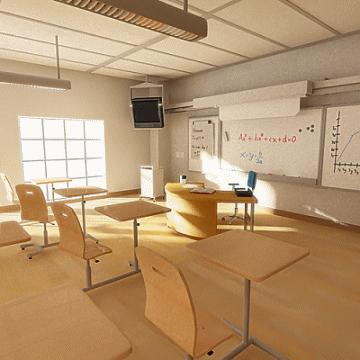 classroom 3d model 3ds max obj 77155