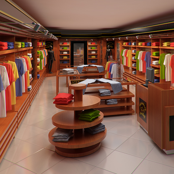 Interior Decor Stores: Clothing Store Interior For Men And Women (Render 3D Model