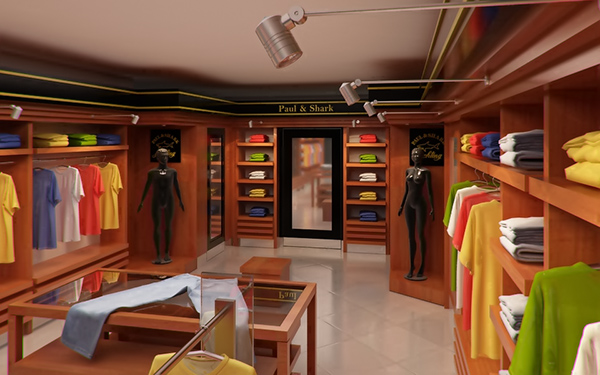 Clothing store interior for men and women render 3d model flatpyramid for Clothing store interior design pictures