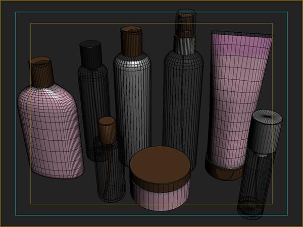 cosmetics bottles 3d model 3ds max fbx cob c4d x lwo 3dm hrc xsi texture obj 111854