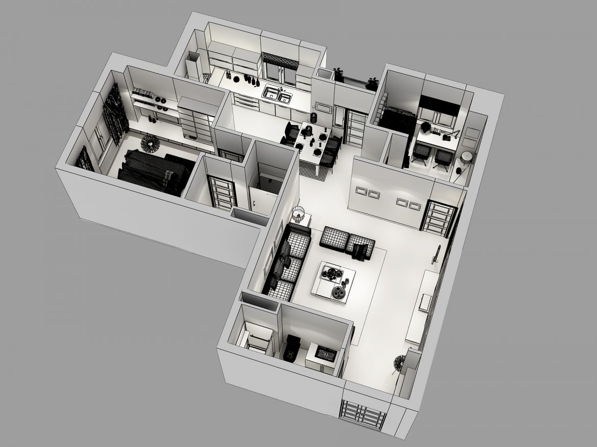 detailed house cutaway 3d model max 158989