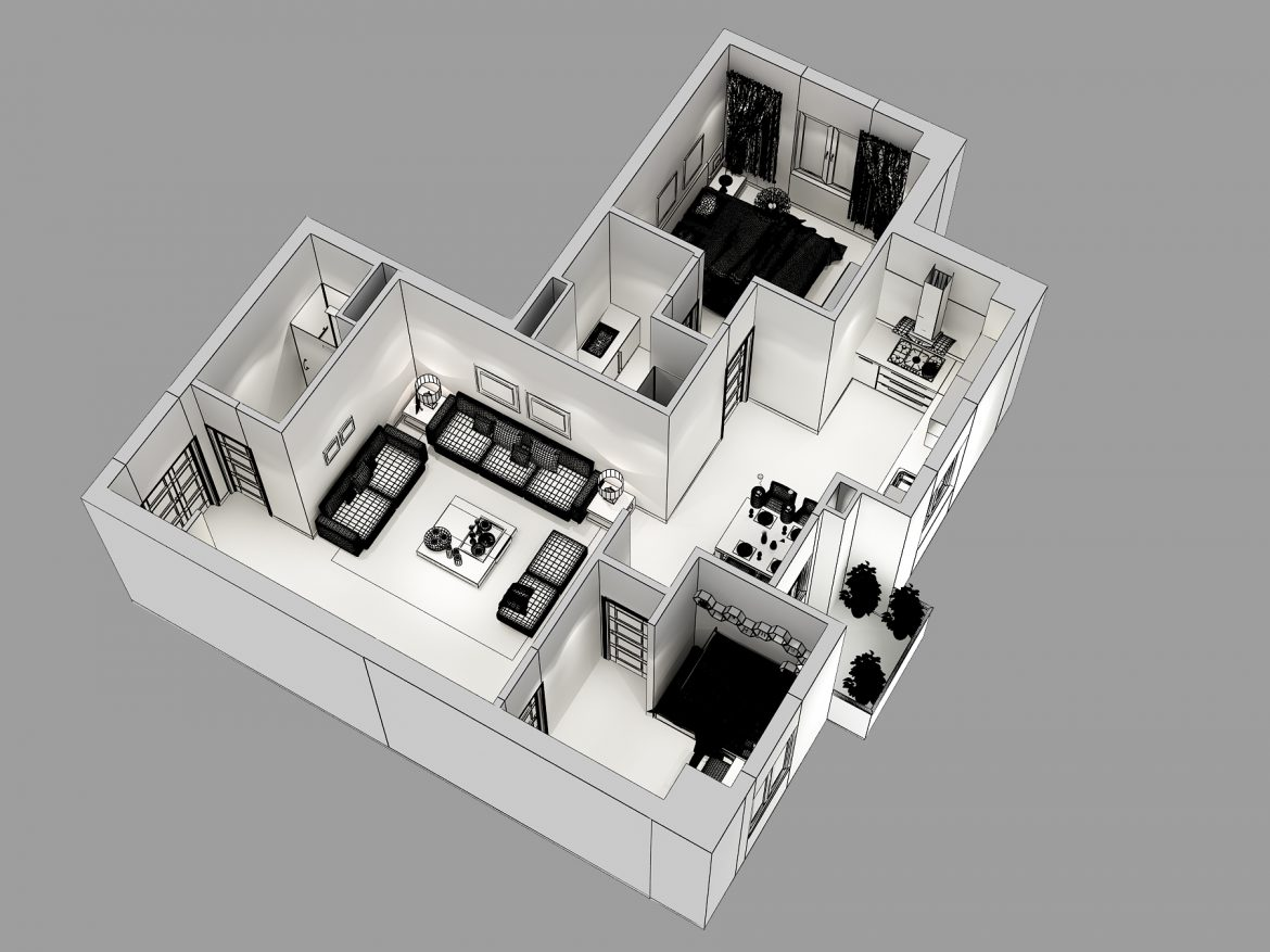 detailed house cutaway 3d model max 158990