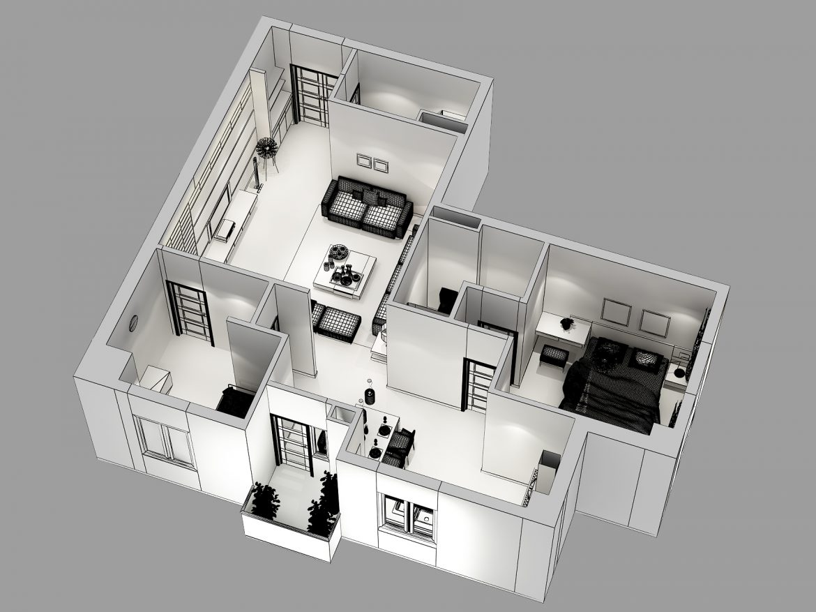 detailed house cutaway 3d model max 158991