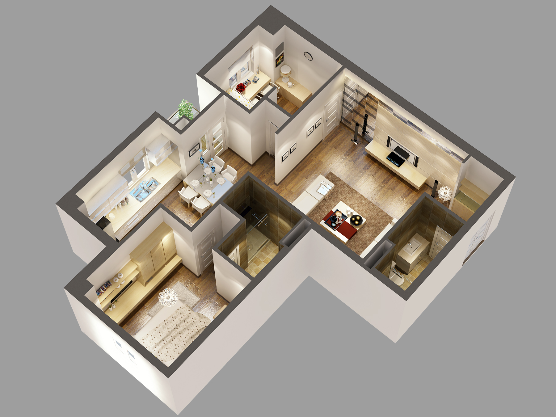 Detailed house cutaway 3d model 3d model buy detailed for Apartment design models