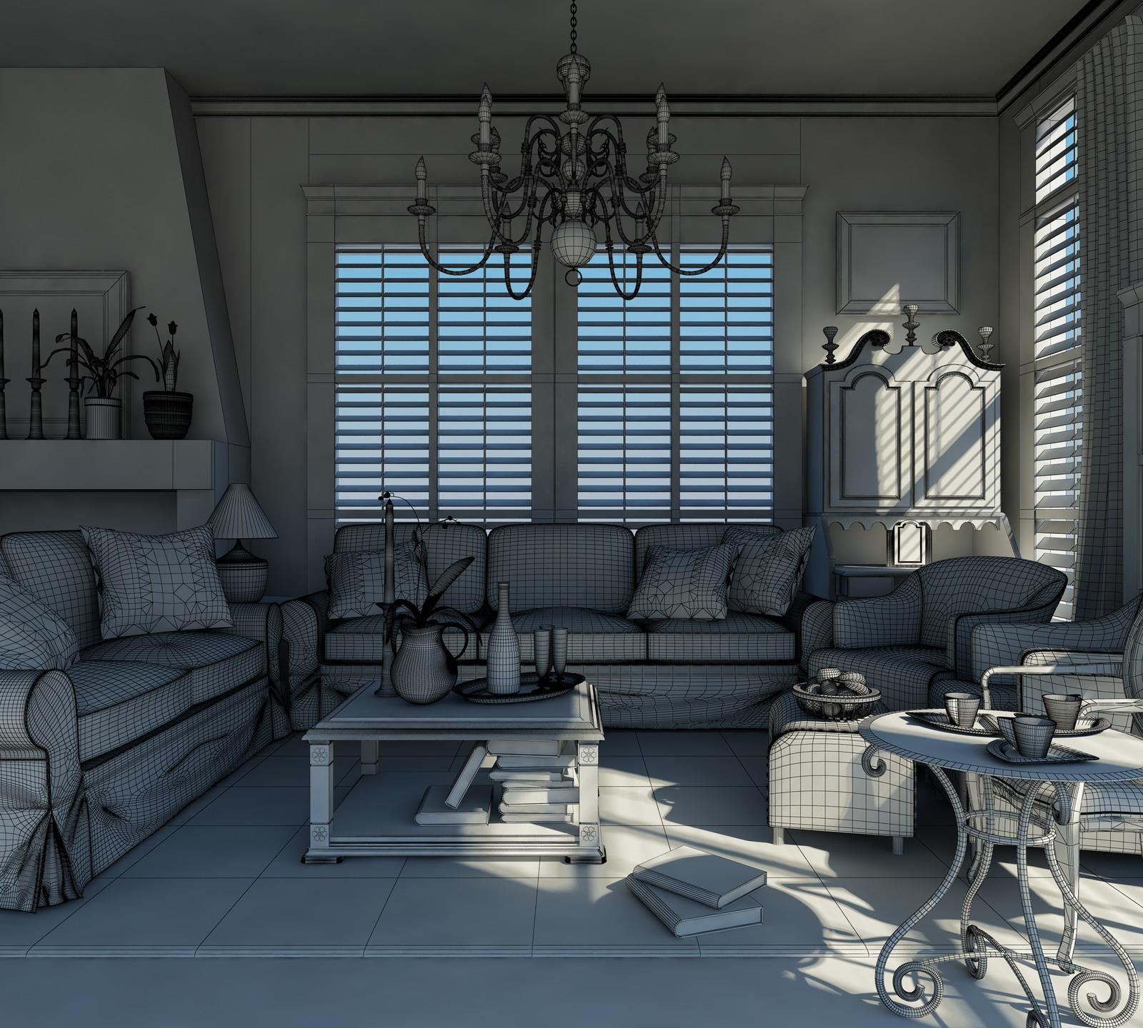 drawing room 001 3d model max 125319