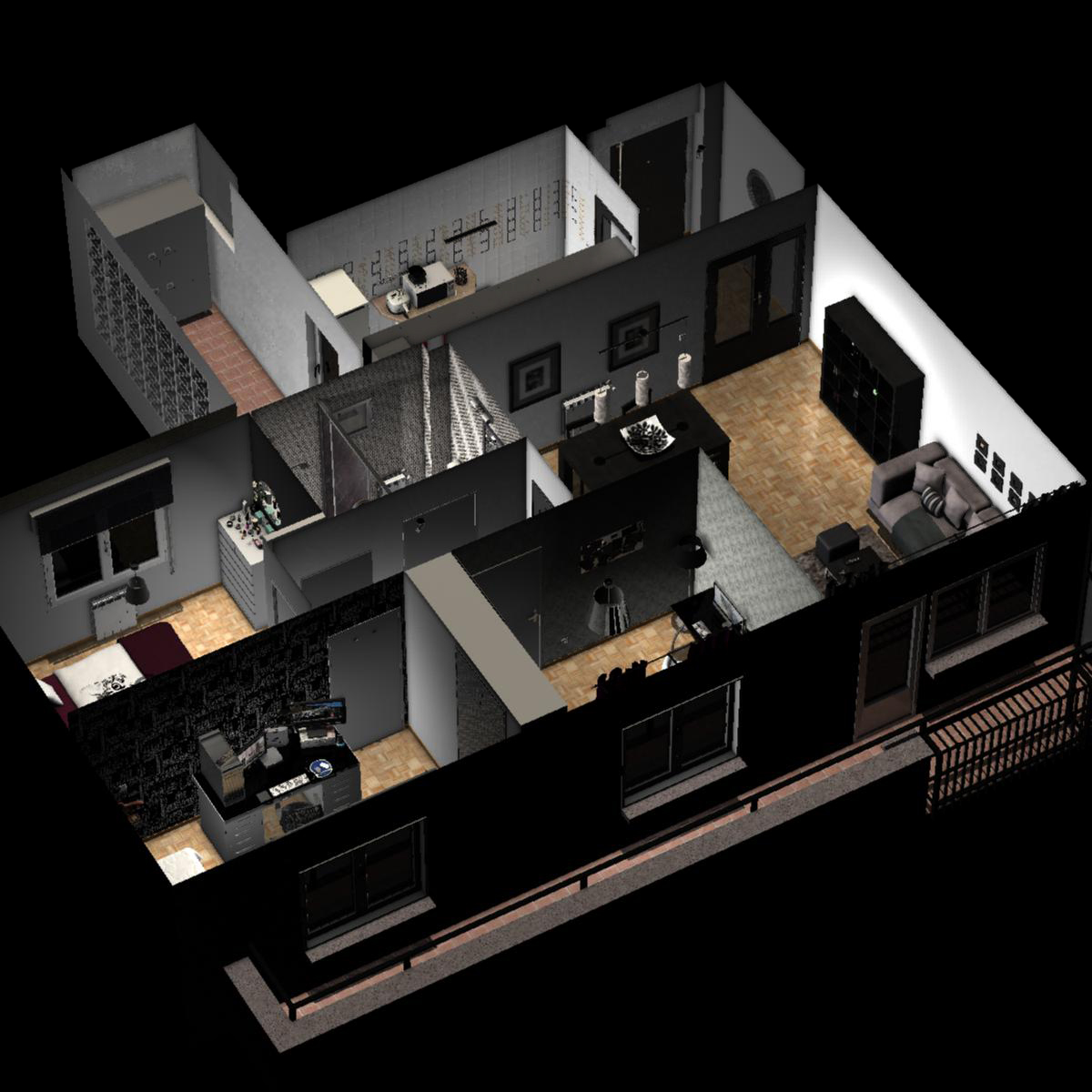 entire apartment 3d model fbx c4d ma mb obj 159643