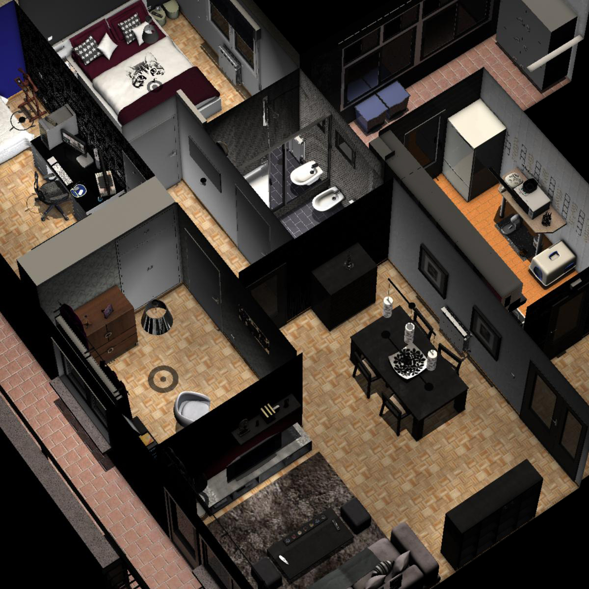 entire apartment 3d model fbx c4d ma mb obj 159644