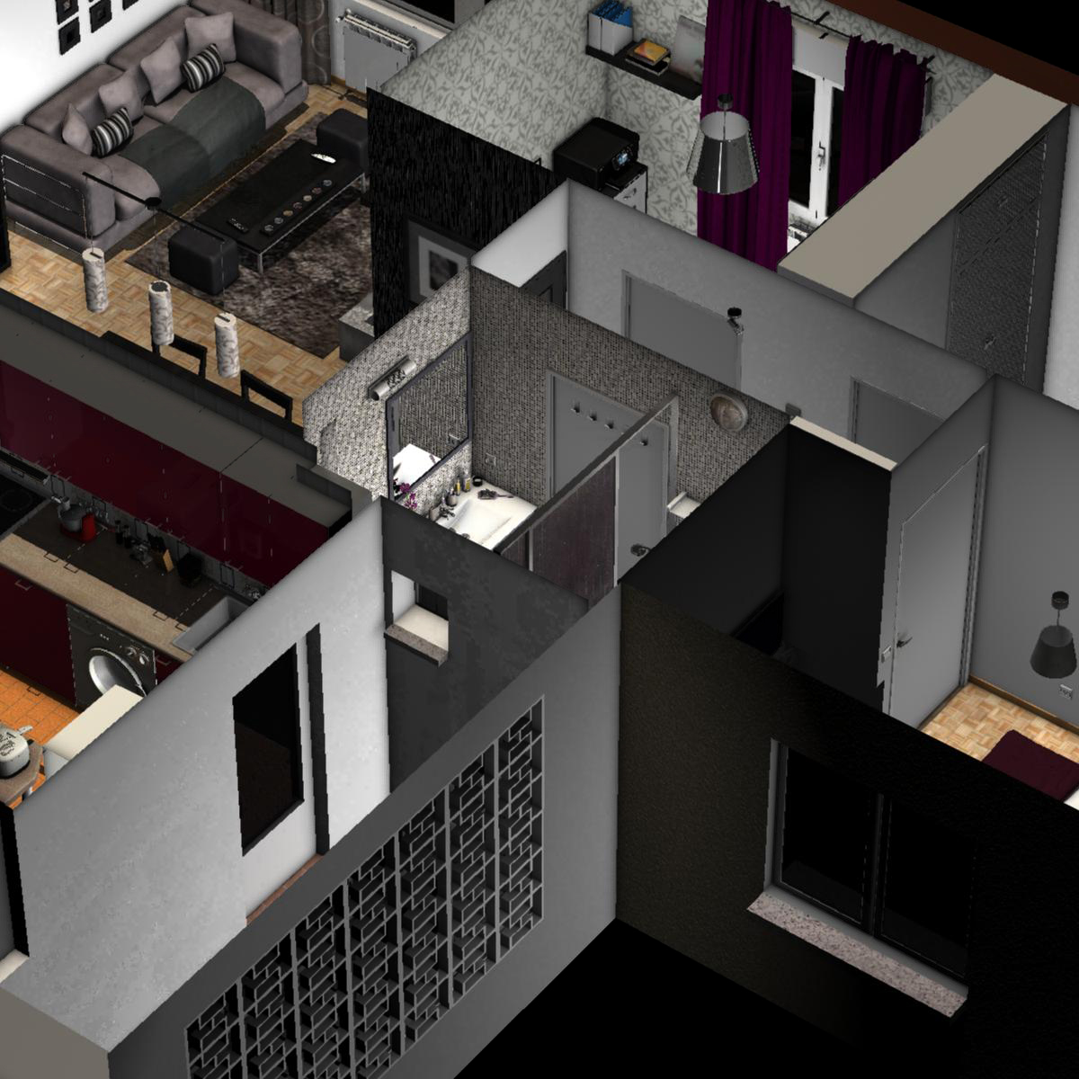 entire apartment 3d model fbx c4d ma mb obj 159645