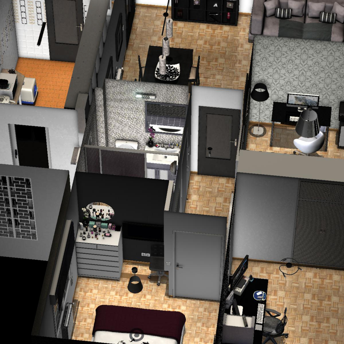 entire apartment 3d model fbx c4d ma mb obj 159646