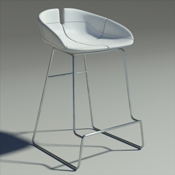 fjord bar stool low white 2 3d model 3ds max dwg fbx obj 88545