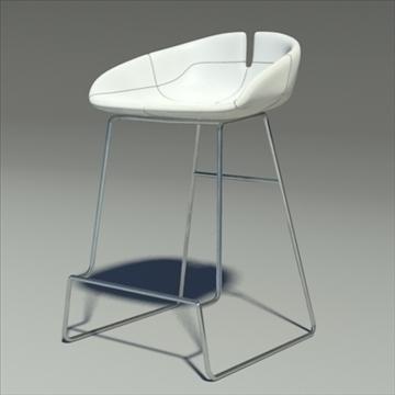 fjord bar stool low white 2 3d model 3ds max dwg fbx obj 88546