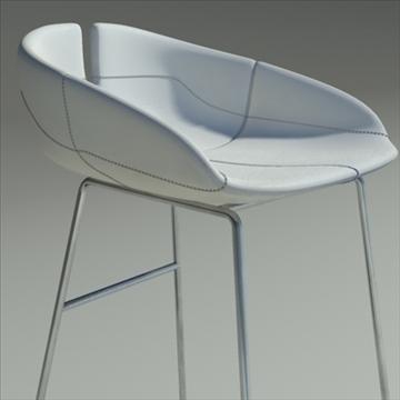 fjord bar stool low white 2 3d model 3ds max dwg fbx obj 88548