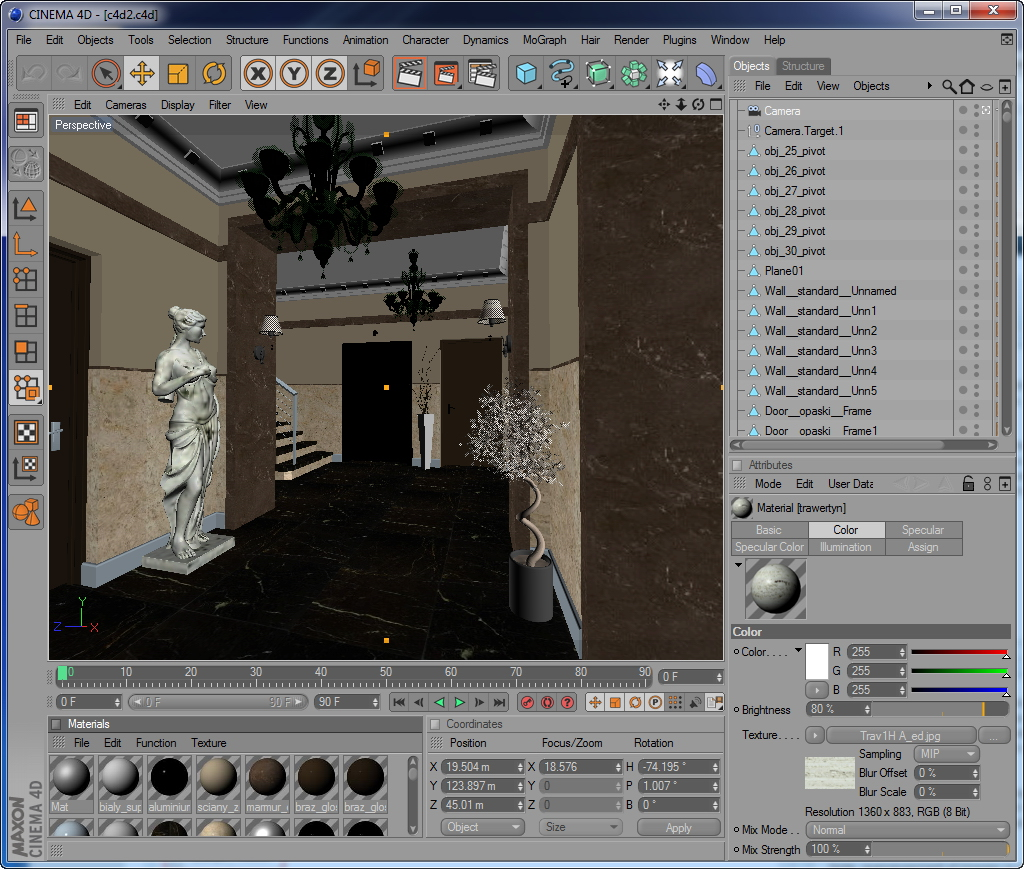 hall lobby decorated interior full scene 3d model 3ds max c4d jpeg jpg texture obj 143477