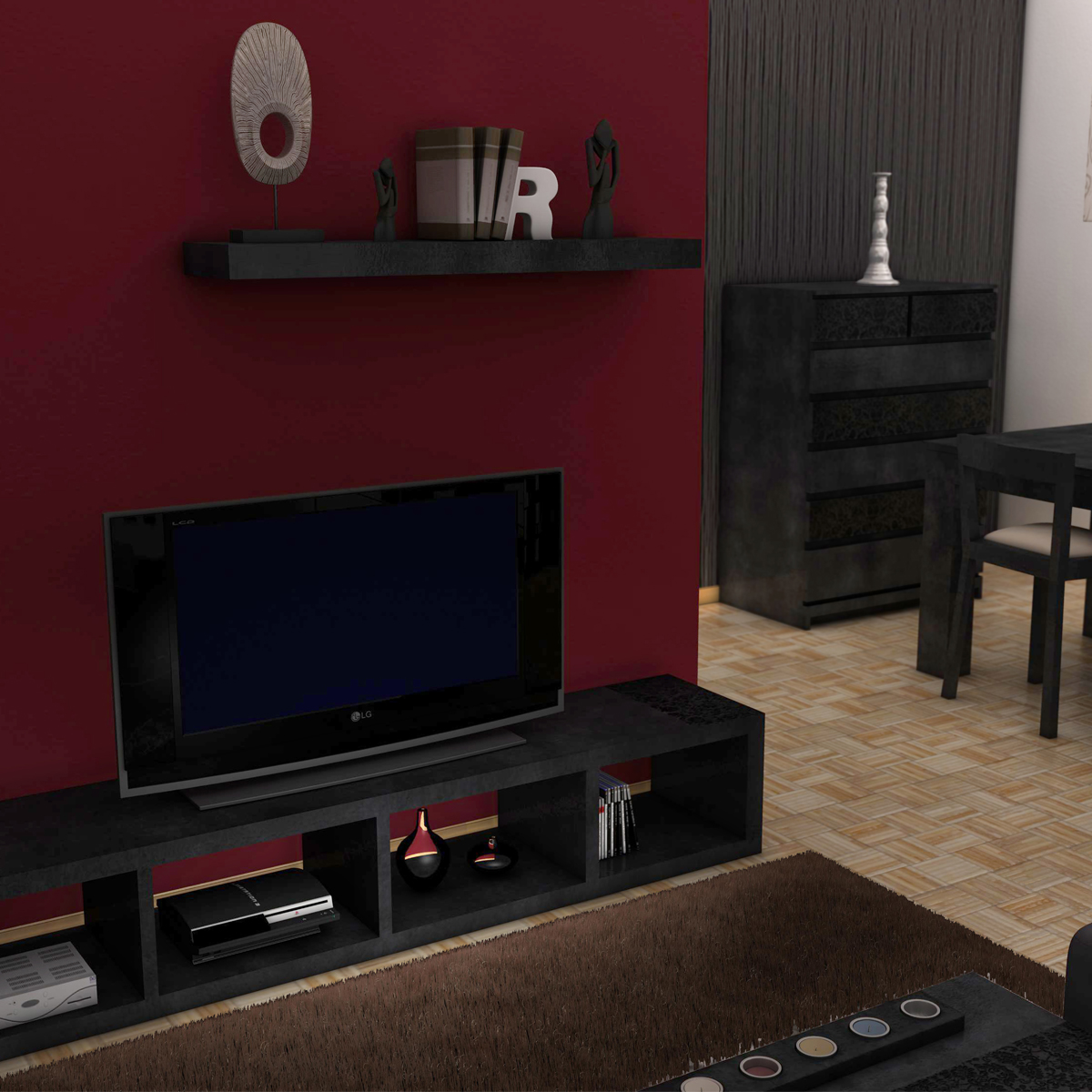 living room 3d model 3ds max fbx c4d ma mb obj 159607