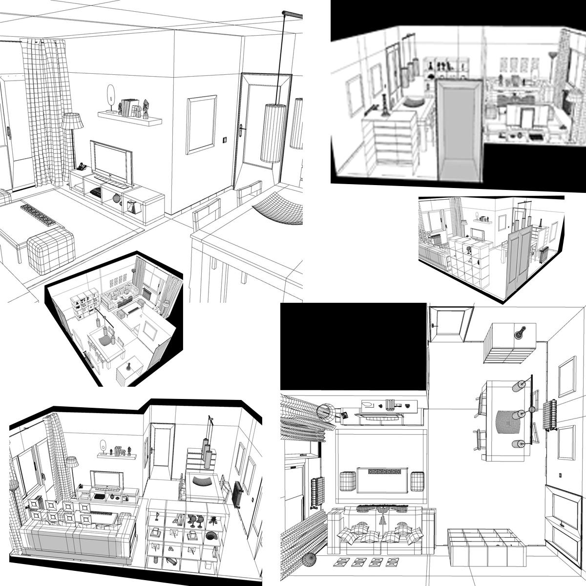 dzīvojamā istaba 3d modelis 3ds max fbx c4d ma mb obj 159615