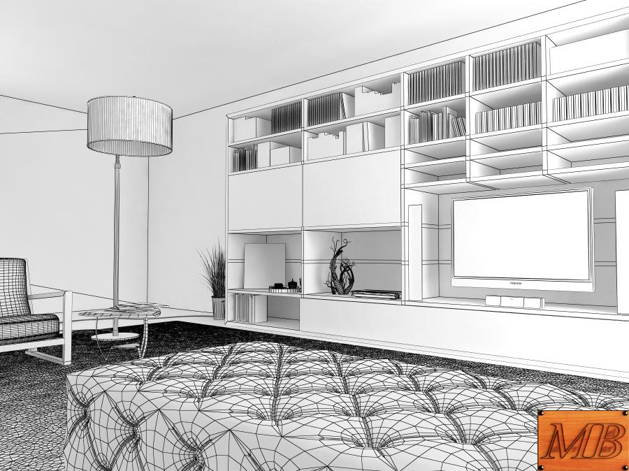 living room 3d model max fbx c4d obj 163412