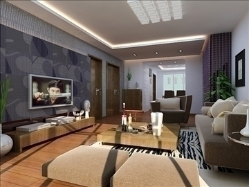 living room 60 3d model max 98743