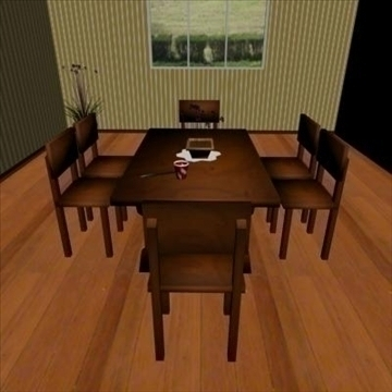 low poly dining room 3d model max 111536