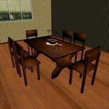 low poly dining room 3d model max 111537