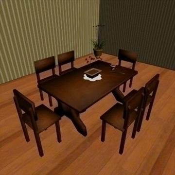 low poly dining room 3d model max 111538