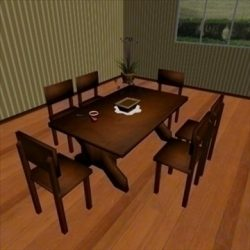 low poly dining room ( 86.29KB jpg by 3DGL )