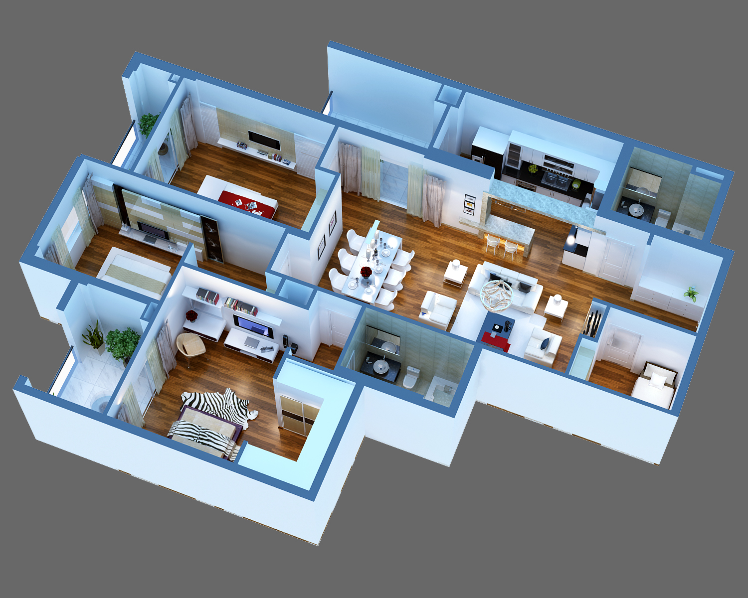 Luxury detailed house cutaway 3d model 3d model buy for House designs 3d model