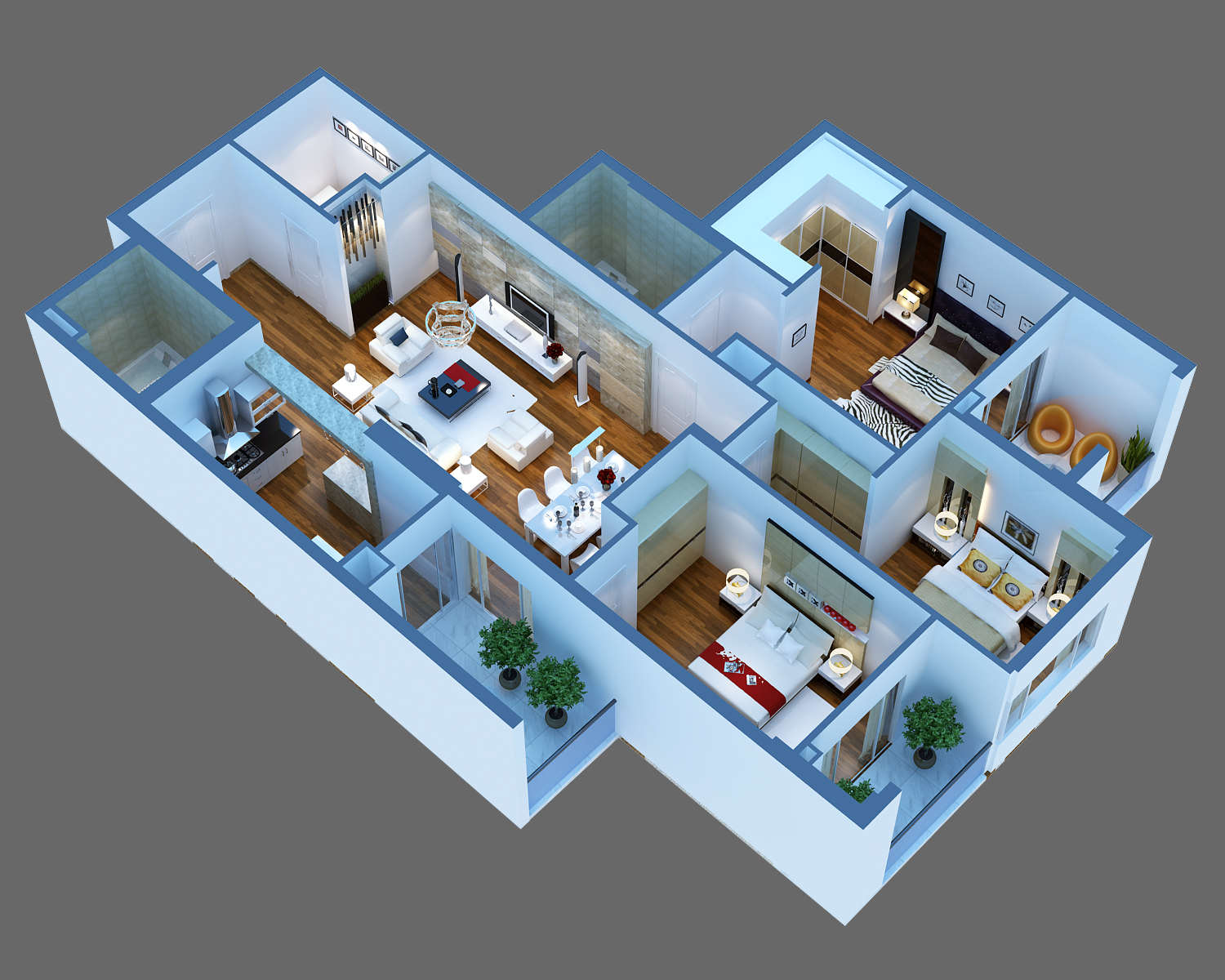 Luxury detailed house cutaway 3d model 3d model interior 3d residential design software